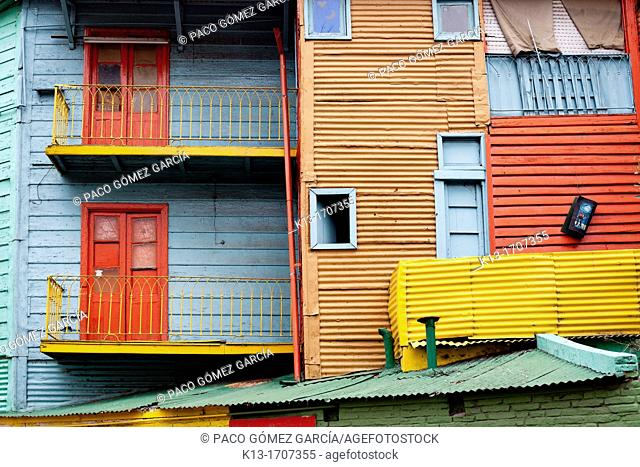 Colourfully painted houses made of corrugated sheet at El Caminito Street  Buenos Aires  Argentina