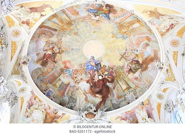Interior of the Pilgrimage Church of Birnau near Uhldingen, Lake Constance, Baden-Wuerttemberg, Germany, Europe