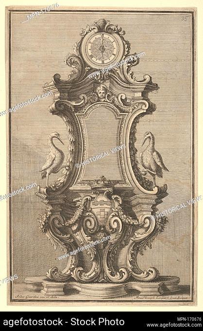 Design for a Clock, from 'Disegni Diversi'. Artist: Giovanni Giardini (Italian, Forlì 1646-1722 Rome); Engraver: Maximilian Joseph Limpach (Czech