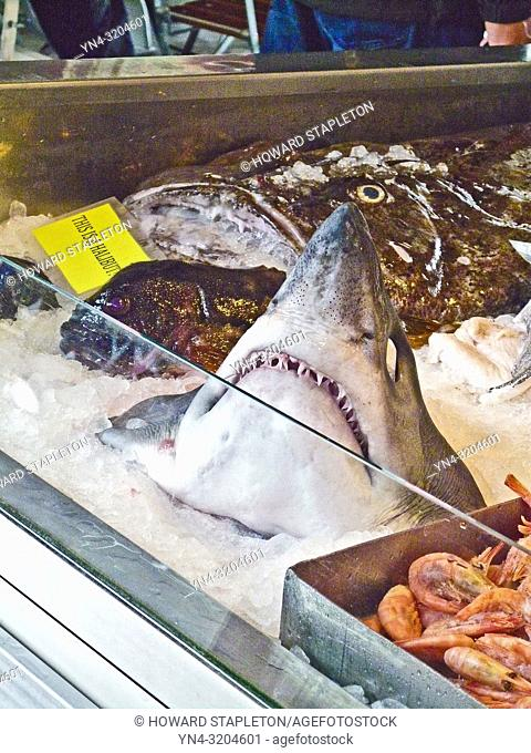 Sea food on display at the Fish Market in Bergen, Norway