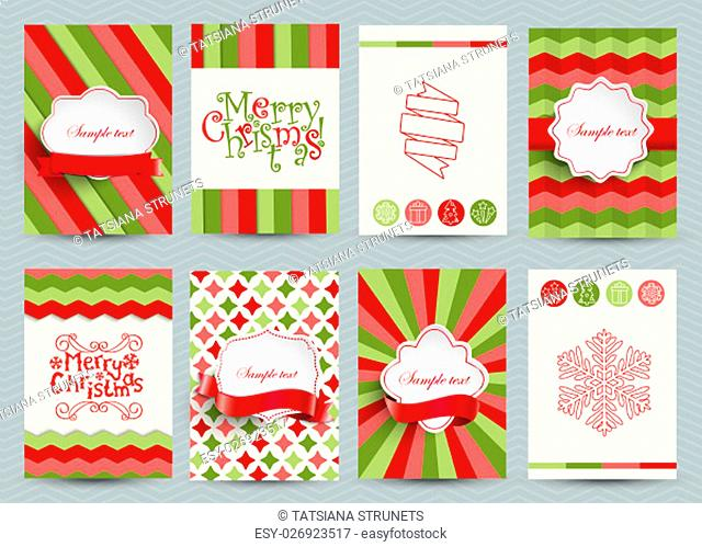 Set of christmas brochures templates. Bright vector backgrounds. Christmas frames, ribbons, lettering for your design