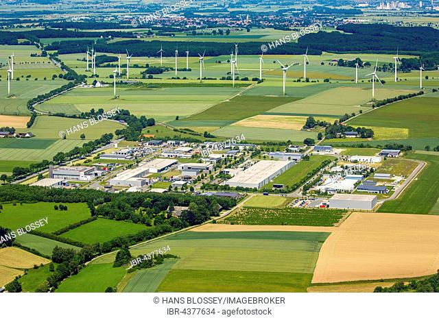 Aerial view, industrial area Belecke Walter Rathenau Ring, Belecke, Warstein, Sauerland, North Rhine-Westphalia, Germany