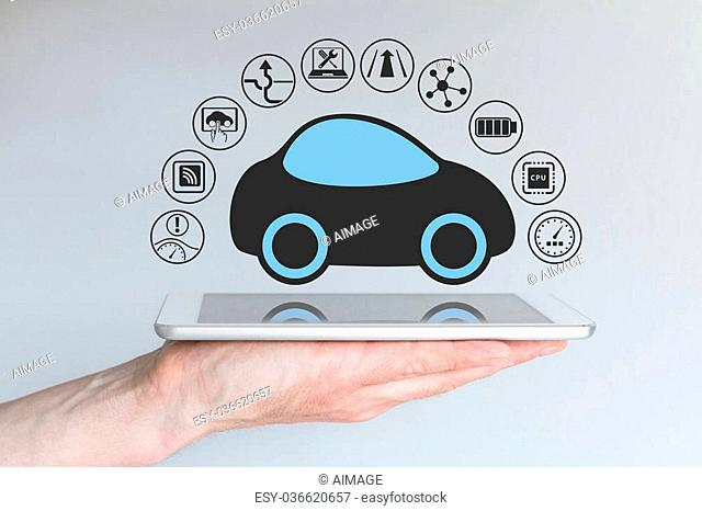 Autonomous self-driving driverless car connected to mobile device
