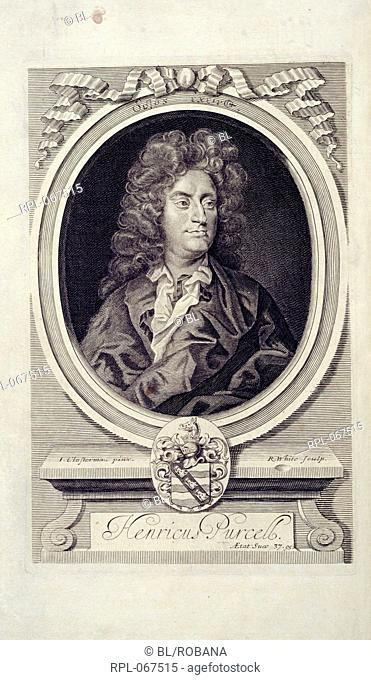 Henry Purcell 1659-1695. English composer. Portrait. Image taken from Orpheus Britannicus. Originally published/produced in London : J. Heptinstall W