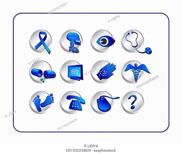 Medical & Pharmacy Icon Set, Blue - Silver. Digital illustration from scratch