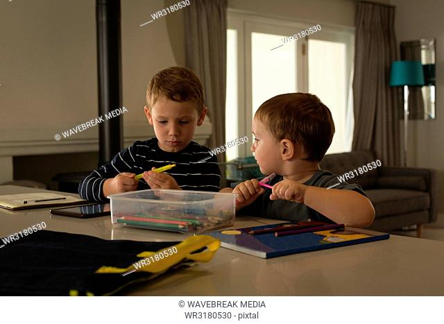 Siblings doing their homework at home