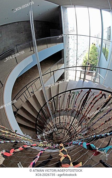 fisheye view of TEA Museum stairway. Santa Cruz de Tenerife city center . Spain