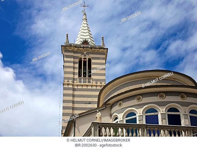 Church of San Giorgio, 1396, restored in the 18th century, Genoese style, old town, Moneglia, Genoa Province, Liguria, Italian Riviera or Riviera di Levante