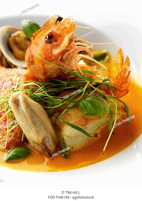 A bowl of bouillabaisse