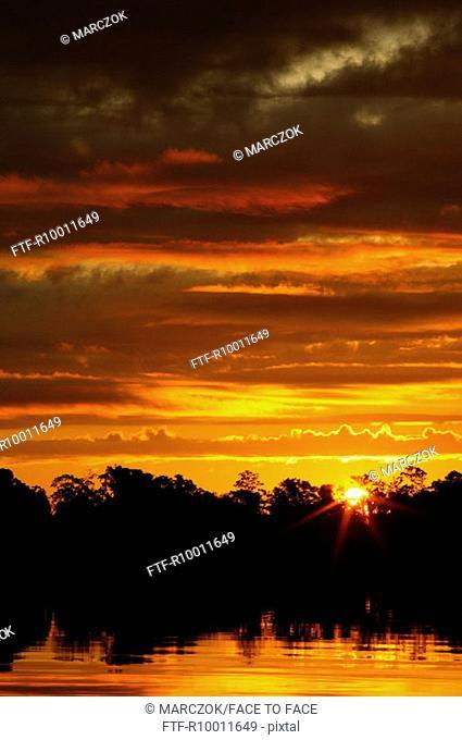 Sunset over a river, Rio Negro, Brazil, Amazonas
