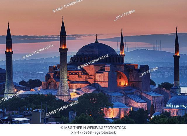 Hagia Sophia museum and Bosphorus at sunrise, Istanbul, Turkey