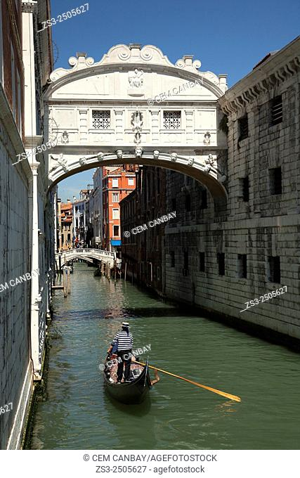 Gondolier rowing at a canal, Venice, Veneto, Italy, Europe
