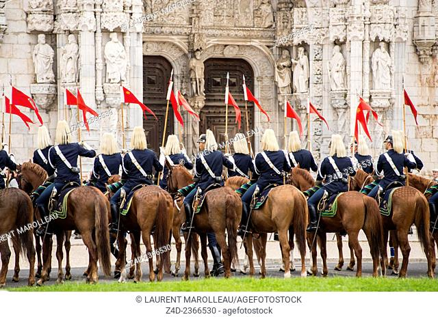 Ceremony of Republic Guards of Honor during Visit of Indonesian Ambassador Mulya Wirana to the President of the Portuguese Republic