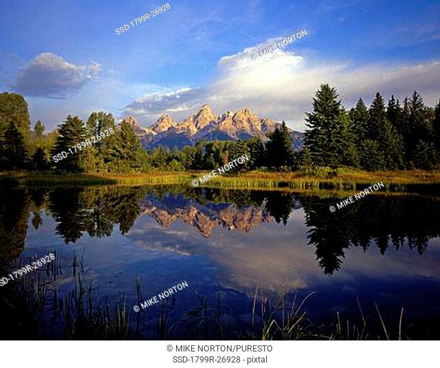 Reflection of mountains in a river, Grand Teton, Snake River, Schwabackers Landing, Grand Teton National Park, Wyoming, USA