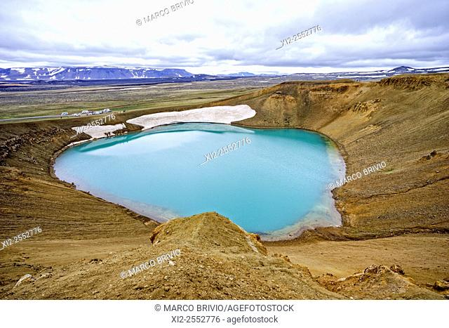 Krafla is a caldera of about 10 km in diameter with a 90 km long fissure zone, in the north of Iceland in the Myvatn region