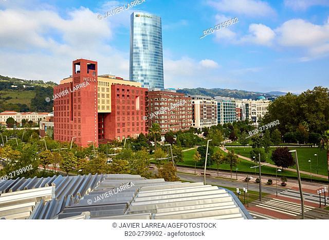 Euskalduna Palace, Iberdrola tower, Bilbao, Bizkaia, Basque Country, Spain