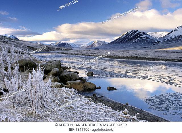 Hoar frost along Hoergá river, Þelamoerk, Hoergárdalur, Akureyri, north Iceland