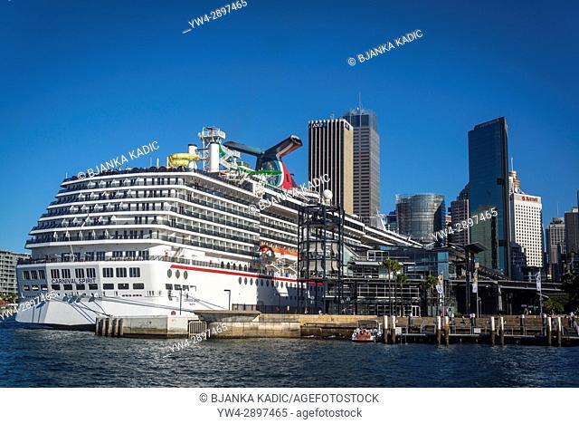 Cruise liner moored at Sydney Cove Passenger Terminal, Sydney Harbour, Sydney, NSW, Australia