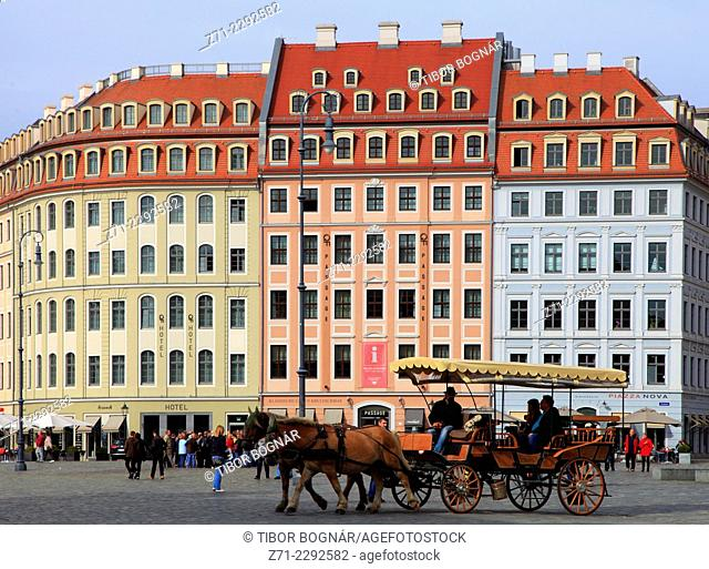 Germany, Saxony, Dresden, Neumarkt, carriage, people, street scene
