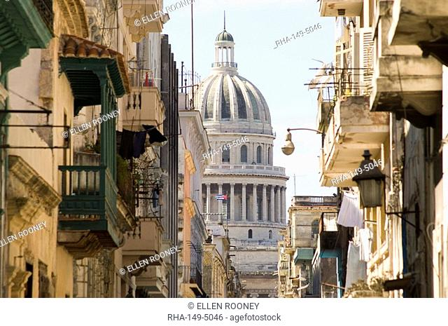 A view of the Capitolio seen through the streets of Habana Vieja old town, Havana, Cuba, West Indies, Central America