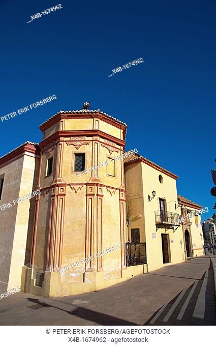 Pasillo de Santo Domingo riverside street in front of Iglesia de Santo Domingo church central Malaga Andalusia Spain Europe