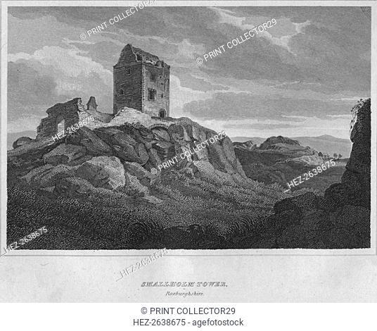 'Smallholm Tower, Roxburghshire', 1814. Artist: John Greig