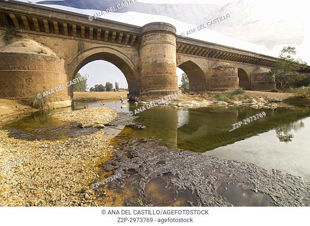 Roman bridge and Rio Tinto in Niebla village Huelva province, Andalusia, Spain