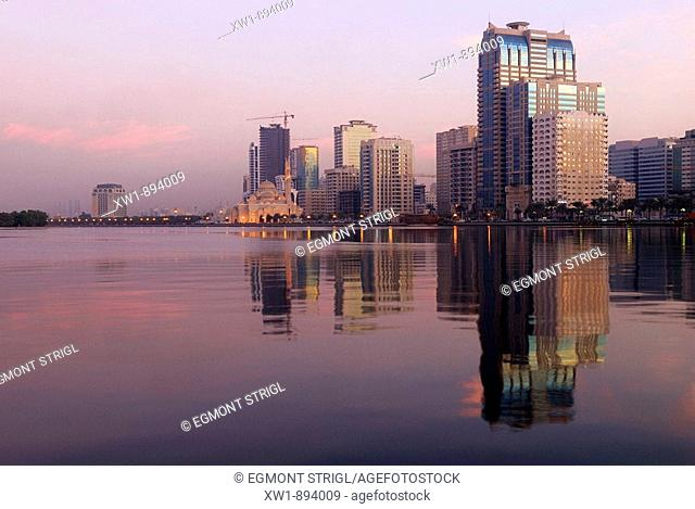 Skyline and Corniche of Sharjah City, Emirate Sharjah, United Arab Emirates, UAE, Arabia, Middle East, West Asia
