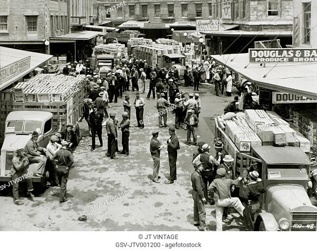 Produce Market Workers and Police, New York City, USA, Racket Busters, 1938