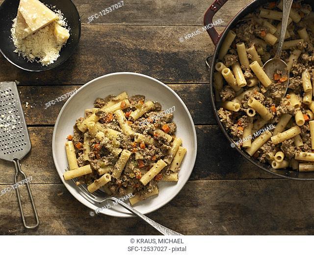 Rigatoni With White and Italian Pork Sausage Bolognese