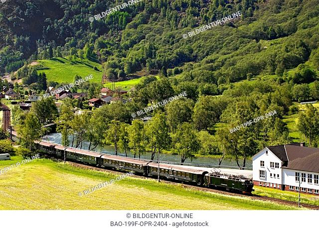 This image shows the famous Flam Train, one of the highest altidute train operated worldwide, driving through a typical Norwegian landscape near Flam at the...