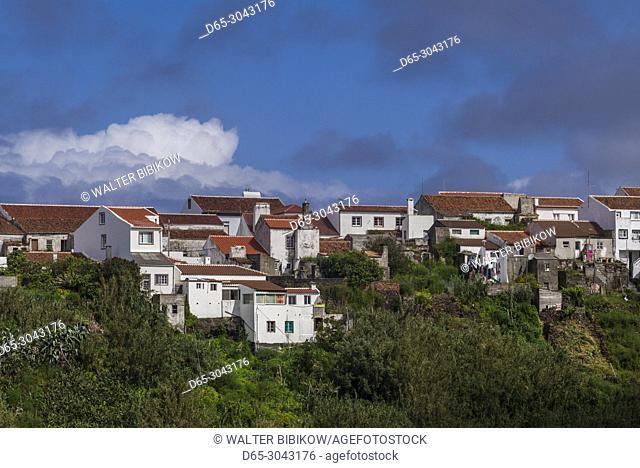 Portugal, Azores, Santa Maria Island, Vila do Porto, elevated town view