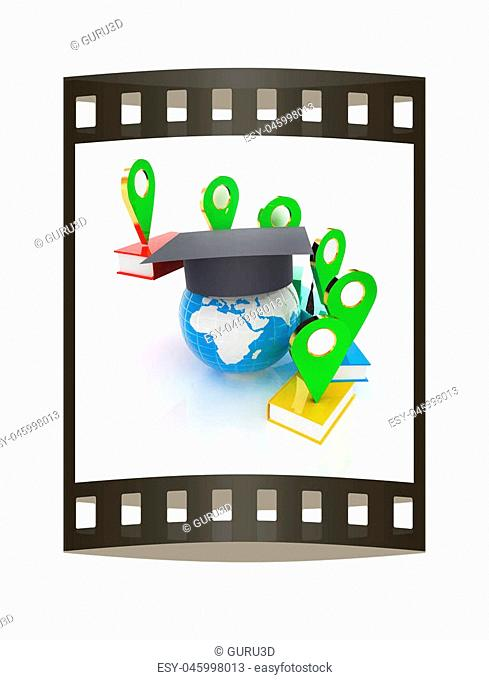 Books around the Earth and pointer. Education and navigation concept. 3d render. The film strip