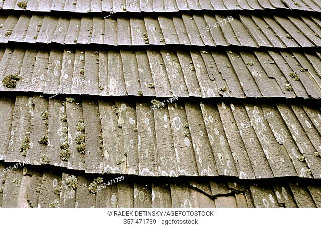 roof of old wooden house, Fagaras Mountains, Romania