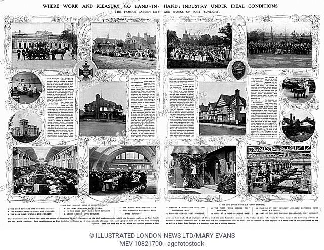 Double page spread from The Illustrated London News showing scenes at Port Sunlight, the model village built by William Lever (Lord Leverhulme) to house workers...