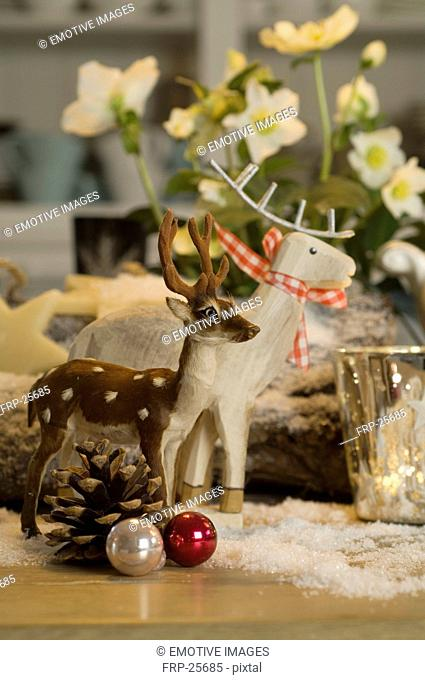 Christmas decoration with deer figurines