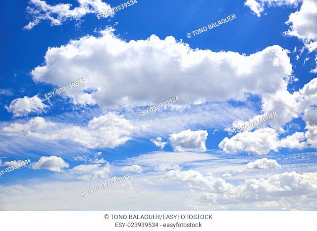 Blue sky with clouds in a summer sunny day