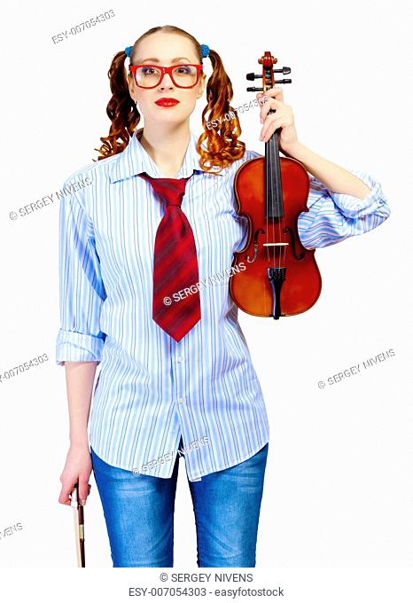 Young funny woman in red glasses holding violin