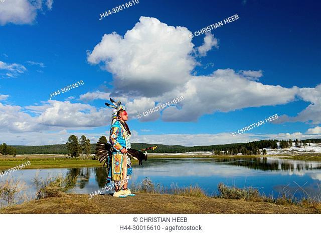 North America, USA, Rocky Mountains, Rockies, Montana, Yellowstone National Park, UNESCO, World Heritage, Robert Yellowhawk, Lakota, MR 0596