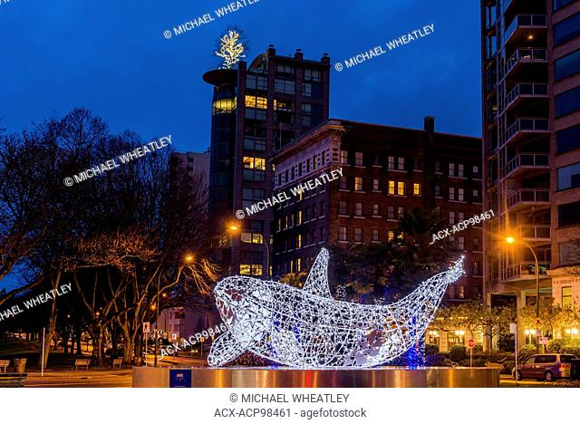 Killer whale, orca light installation, Lumiere Festival, Morton Park, West End, Vancouver, British Columbia, Canada