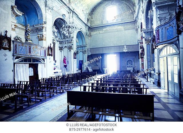 Interior of a Church.Santo-Pietro-di-Tenda, Corsega, France