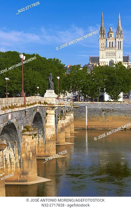 Angers, Verdun bridge, cathedral, Maine et Loire, Anjou Province, River Maine, Pays de la Loire, Loire Valley, UNESCO World Heritage Site, France