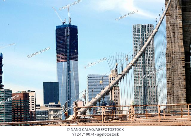 NYC Skyline from Brooklyn Bridge, with New World Trade Center