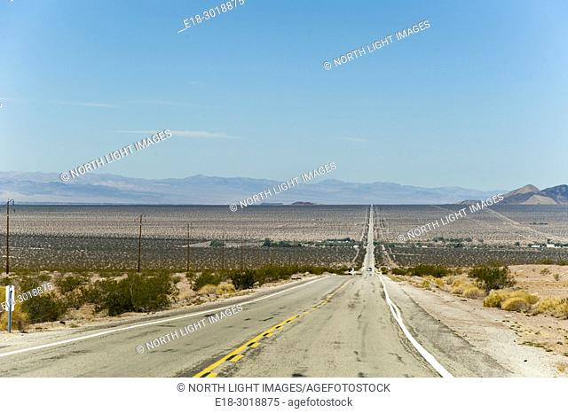 USA, California, Chambless. Straight road through the Mojave Desert. Route 66