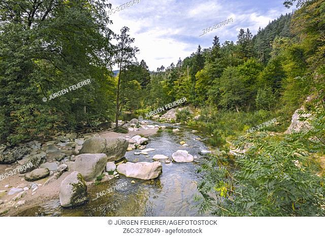 river through the Northern Black Forest, Germany, river Murg and the Murg valley near Forbach