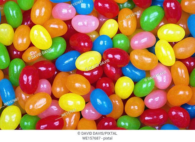 Close up background of delicious Jelly Bean candy