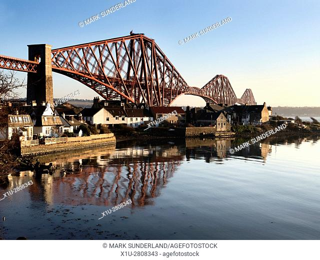 Forth Bridge from West Bay at North Queensferry Fife Scotland