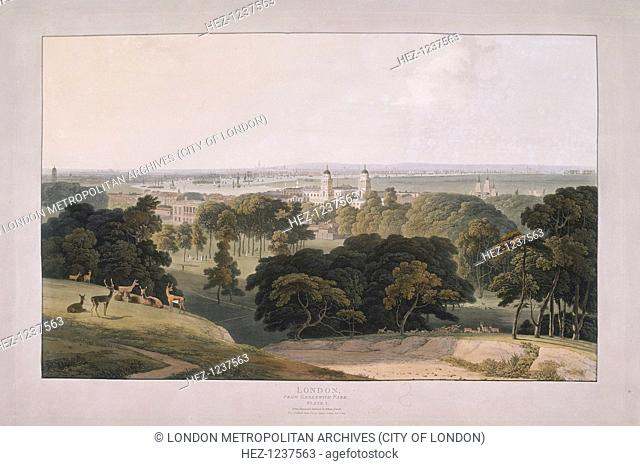 View of Greenwich Park, London, 1804; looking north towards the City of London with deer in the foreground