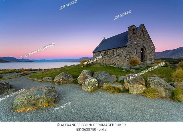 Church of the Good Shepherd at Lake Tekapo at the blue hour, behind the Southern Alps, Lake Tekapo, Canterbury Region, New Zealand