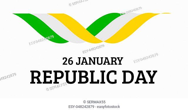 Indian Republic Day background with flag on white